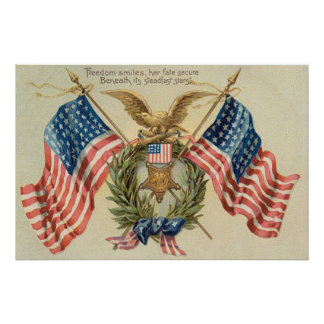 US Flag Wreath Medal Eagle Poster