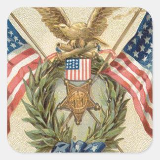 US Flag Wreath Medal Eagle Square Sticker