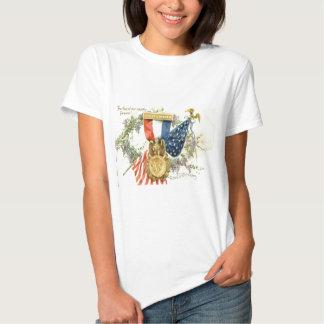 US Flag Wreath Medal Flowers Tee Shirt
