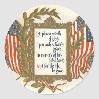 US Flag Wreath Memorial Day Classic Round Sticker