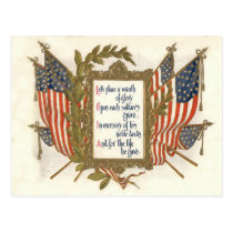 US Flag Wreath Memorial Day Postcard
