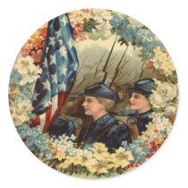 US Flag Wreath Parade March Civil War Classic Round Sticker