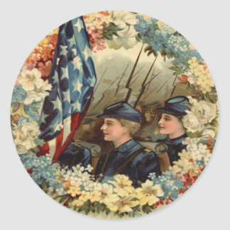 US Flag Wreath Parade March Civil War Classic Round Sticker