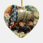 US Flag Wreath Parade March Civil War Double-Sided Heart Ceramic Christmas Ornament