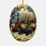 US Flag Wreath Parade March Civil War Double-Sided Oval Ceramic Christmas Ornament