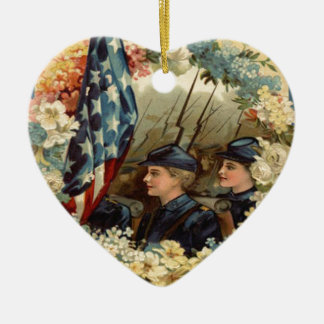 US Flag Wreath Parade March Civil War Christmas Ornaments