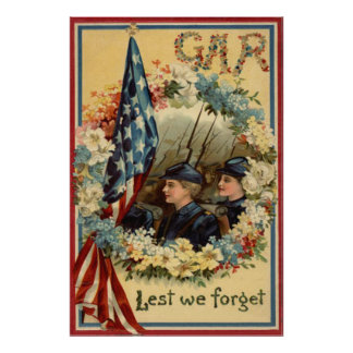 US Flag Wreath Parade March Civil War Poster