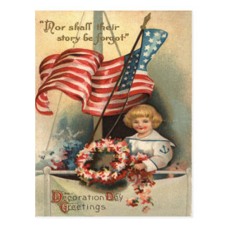 US Flag Wreath Ship Boy Uniform Memorial Day Postcard