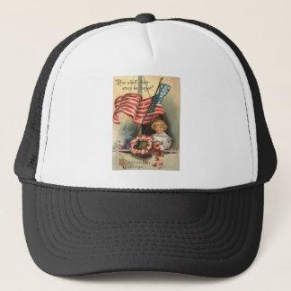 US Flag Wreath Ship Boy Uniform Memorial Day Trucker Hat