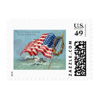 US Flag Wreath Ship Ocean Memorial Day Stamps