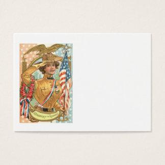US Flag Wreath Uniform Eagle Flowers Business Card