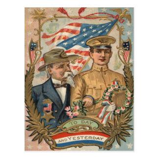 US Flag Wreath Uniform Eagle Flowers Postcard