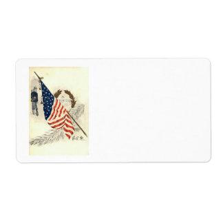 US Flag Wreath Union Soldier Label
