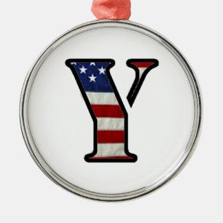 "US Flag ""Y"" Metal Ornament"