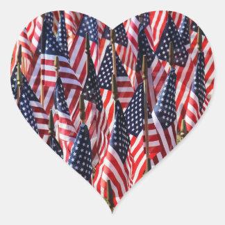 US flags Heart Sticker