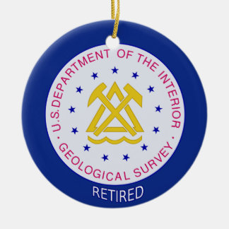 US Geological Survey Retired Double-Sided Ceramic Round Christmas Ornament