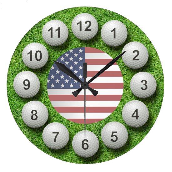 US Golf Balls Timepiece Large Clock