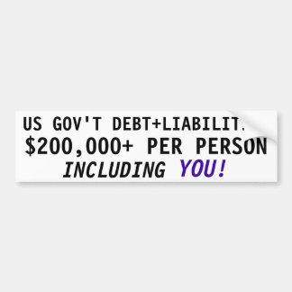 US GOVERNMENT DEBT & LIABILITIES CAR BUMPER STICKER