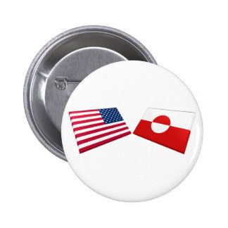 US & Greenland Flags Buttons
