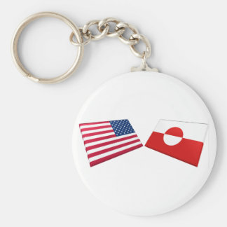 US & Greenland Flags Key Chain