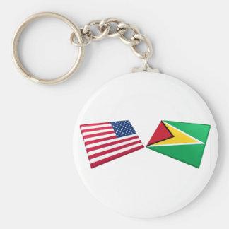 US & Guyana Flags Basic Round Button Keychain