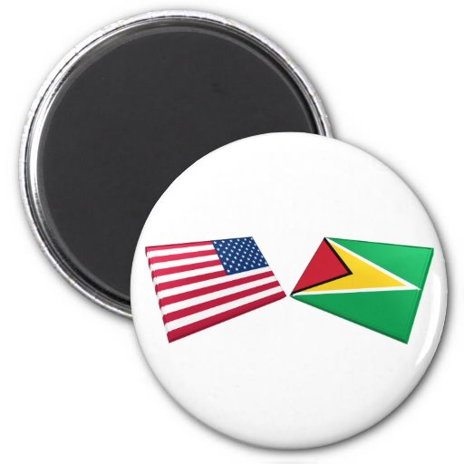 US & Guyana Flags Magnet