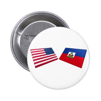 US & Haiti Flags 2 Inch Round Button
