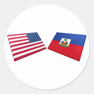 US & Haiti Flags Classic Round Sticker