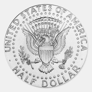 US Half Dollar (pack of 6/20) Classic Round Sticker