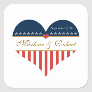US Heart Flag Military Wedding Custom Stickers