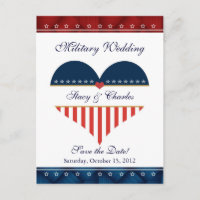 US Heart Military Wedding Save the Date Postcard