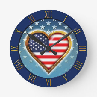 US Heart Round Clock