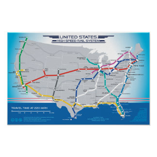 US High Speed Rail - scroll down for updated map Poster