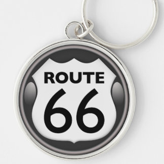 US Historic Route 66 Silver-Colored Round Keychain