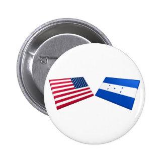 US & Honduras Flags 2 Inch Round Button