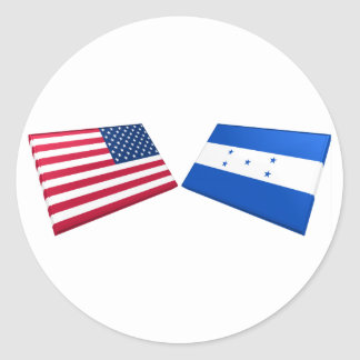 US & Honduras Flags Classic Round Sticker