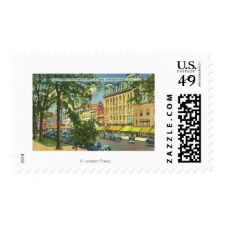 US Hotel Porch View of Main Street Postage Stamp