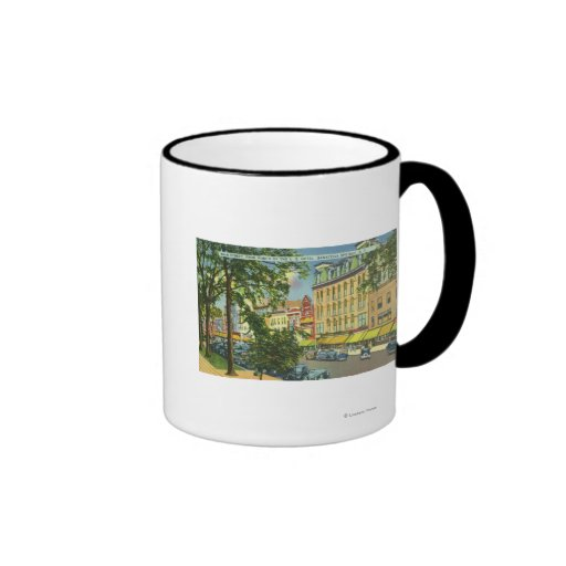 US Hotel Porch View of Main Street Ringer Coffee Mug