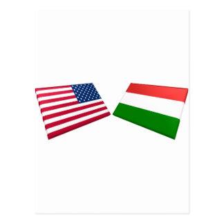 US & Hungary Flags Postcard