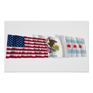 US, Illinois and Chicago Flags Poster