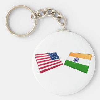 US & India Flags Basic Round Button Keychain