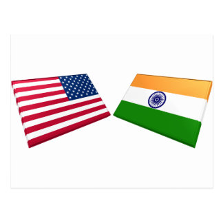 US & India Flags Postcard