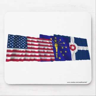 US, Indiana and Indianapolis Flags Mouse Pad