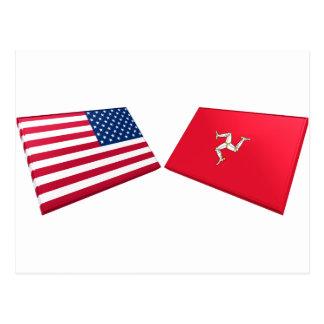 US & Isle of Man Flags Postcard