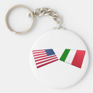 US & Italy Flags Basic Round Button Keychain