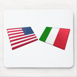 US & Italy Flags Mouse Pad