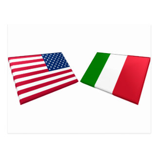 US & Italy Flags Postcard