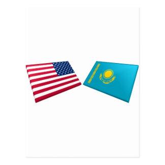 US & Kazakhstan Flags Postcard
