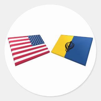 US & Khalistan Flags Classic Round Sticker