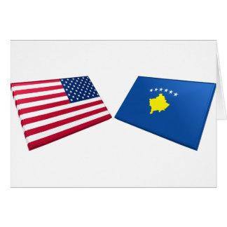US & Kosovo Flags Greeting Card